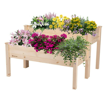 GOOD LIFE 2-in-1 Wooden Raised Garden Bed Planter Box – 2 piece Spacious Elevated Outdoor High Low Combination Set for Deck Patio Vegetable Herb Flower Growing – Natural