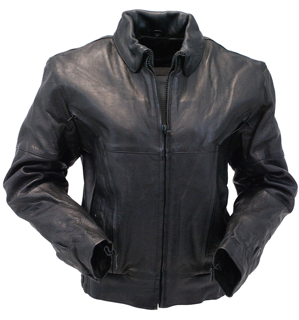 Women's Heavy Vented Bomber Motorcycle Jacket #L286VZK - 3X