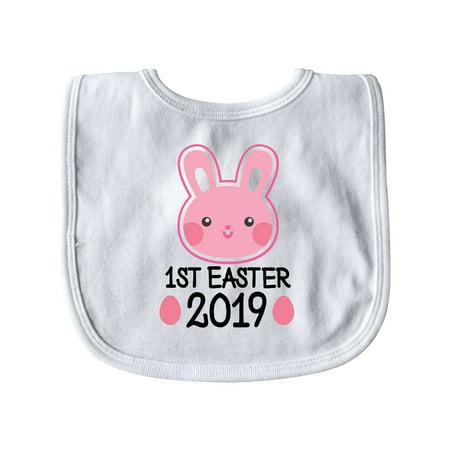 1st Easter 2019 Girls Bunny Rabbit Baby Bib White One Size thumbnail