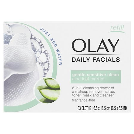 Olay Daily Facial Sensitive Cleansing Cloths w/ Aloe Extract, Makeup Remover 33 (Sun Towelettes)