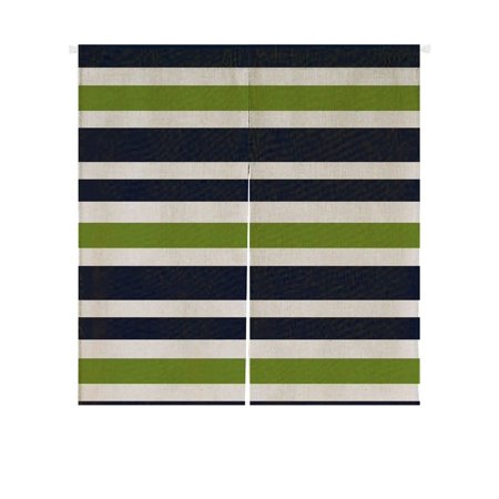 GCKG Navy Blue,Green And White Stripe Doorway Curtain Japanese Noren Curtains Door Curtain Entrance Curtain Size 85x90cm ()
