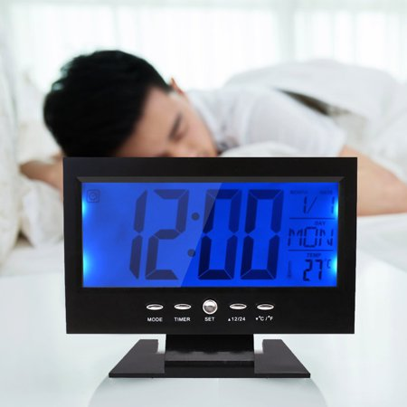 Digital Alarm Clock,LCD Backlight,Calendar,Temperature,Sound