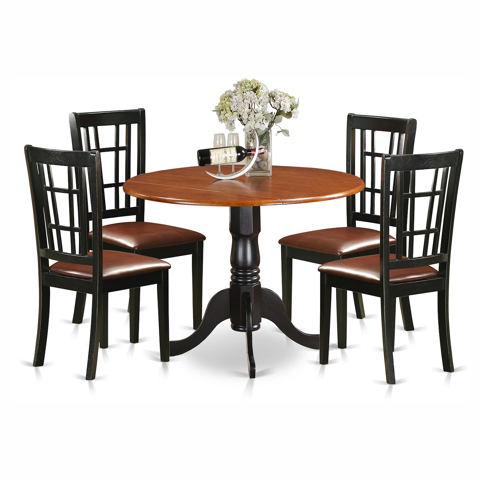 East West Furniture Dublin 5 Piece Drop Leaf Dining Table Set with Nicoli Faux Leather Seat Chairs