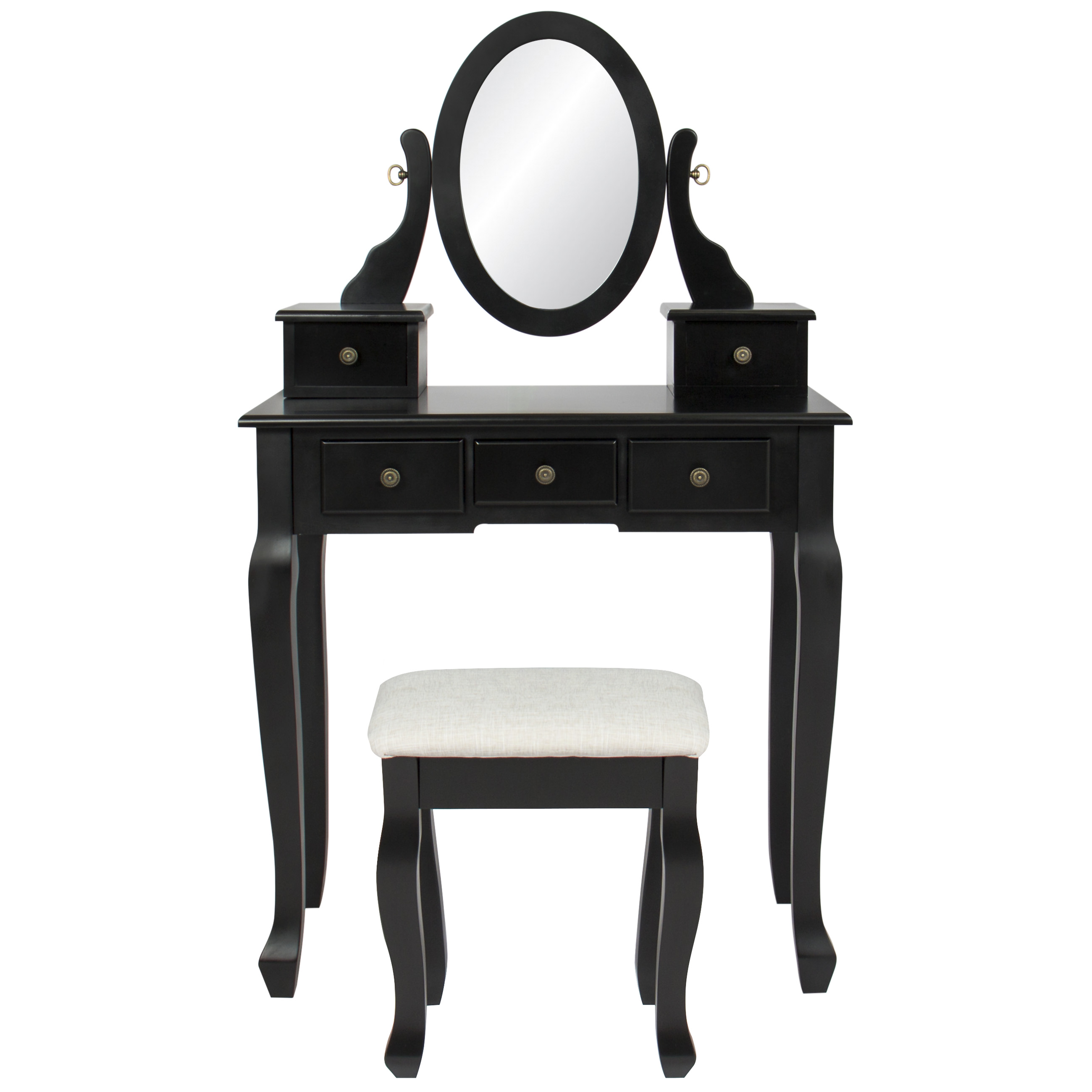 Best Choice Products Makeup Cosmetic Beauty Vanity Dressing Table Set W Oval Mirror Stool Seat 5 Drawers Black