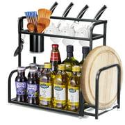2-Tier Kitchen Spice Rack Kitchen Countertop Cabinet Storage Organizer Spice Bottle Jars Rack with Knife Holder, Cutting Board Holder, Chopsticks Spoon Bracket & 6 Hooks