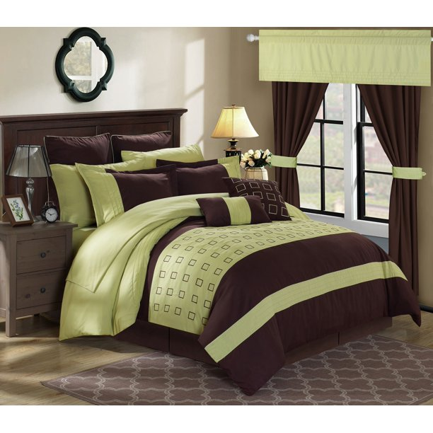 Chic Home 25-Piece Hubert Complete Embroidery color block bedding, sheets, window panel collection King Bed In a Bag Comforter Set Green Sheets Included