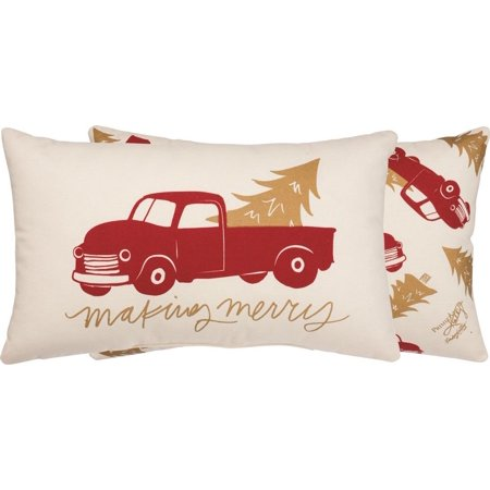 MAKING MERRY Red Truck Christmas Pillow, 20