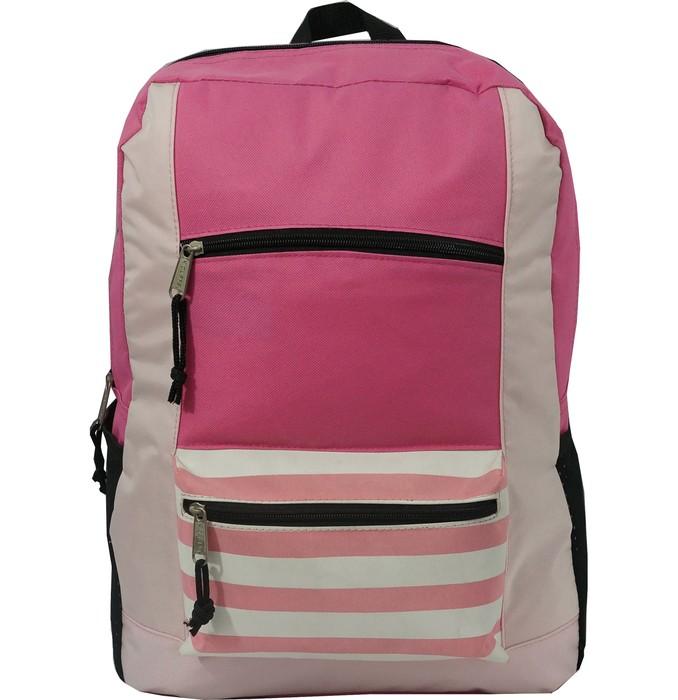 """K-Cliffs Contrast Backpack 18"""" School Book Bag Daypack Grey"""