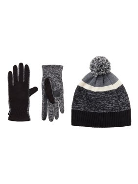 Isotoner Women's Fleece Glove with Spandex Palm and Stripe Knit Hat with Pom Gift Set