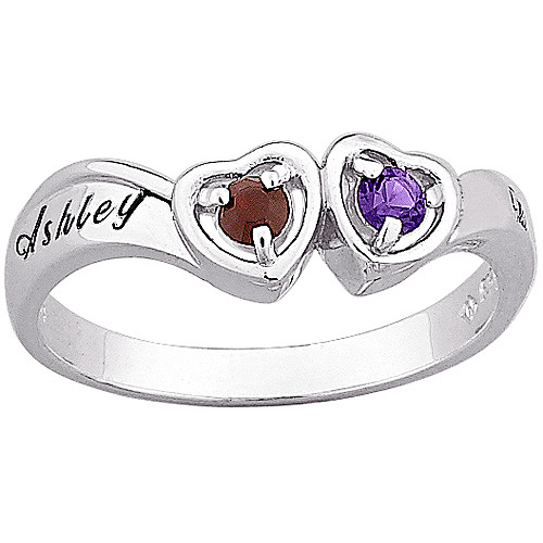 Personalized Sterling Silver Couple's Birthstone Ring