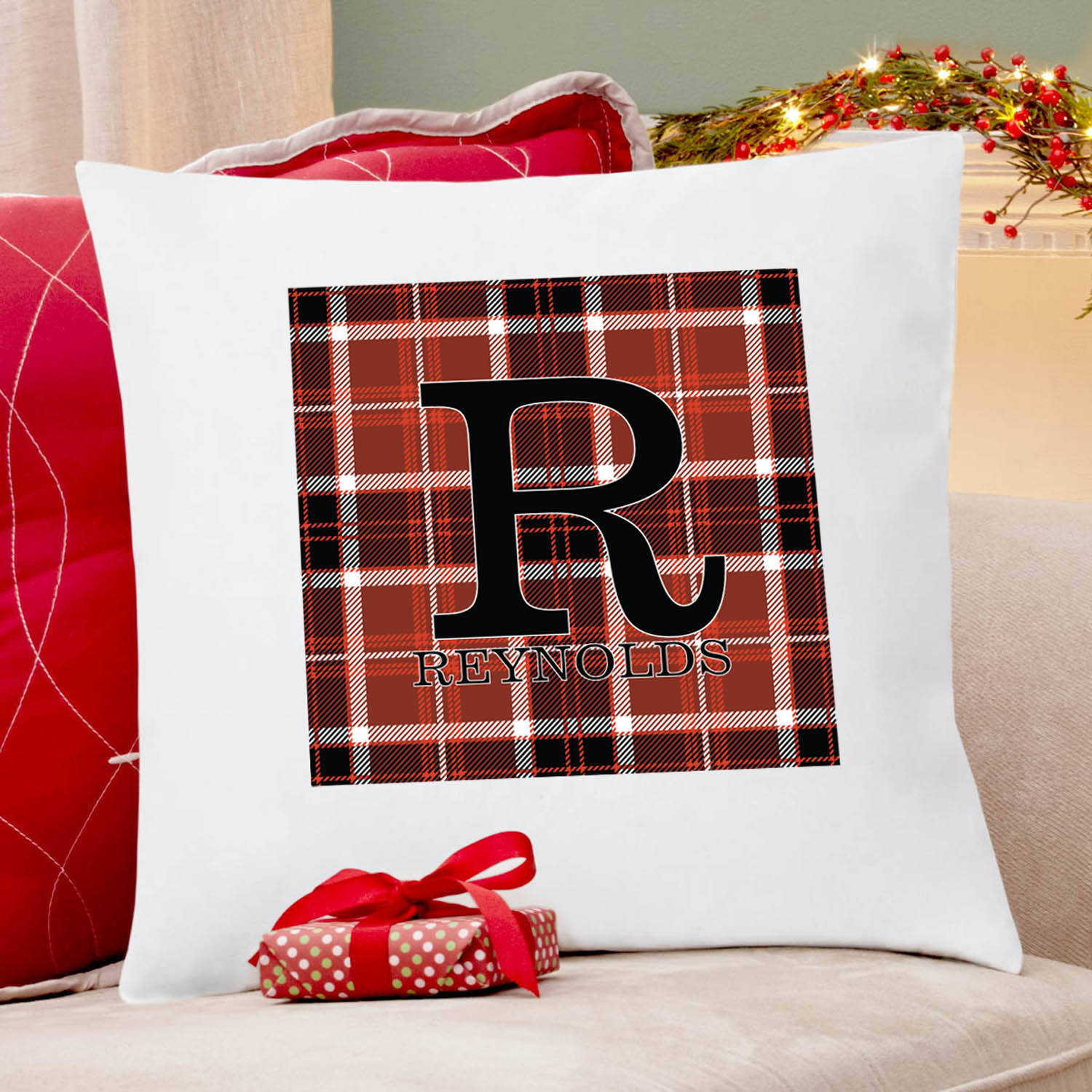 Personalized Plaid Name Pillow