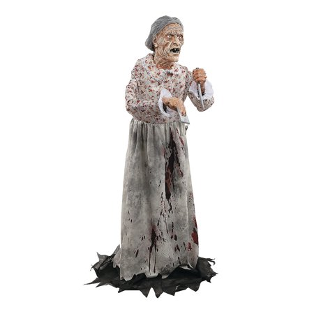 Fun Express - Granny Prop for Halloween - Home Decor - Decorative Accessories - Home Accents - Halloween - 1 Piece - Creepy Rocking Granny Animated Halloween Prop