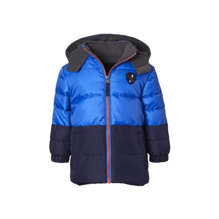 iXtreme Colorblock Puffer Jacket with Front Patch (Little Boys & Big Boys) (Leather Jacket Boys 8 20)