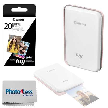 Canon IVY Mini Mobile Photo Printer (Rose Gold) - ZINK Zero Ink Printing Technology – Wireless/Bluetooth + Canon 2 x 3 ZINK Photo Paper Pack (20 Sheets) + Photo4Less Cleaning Cloth – Deluxe Bundle - Deluxe Printing