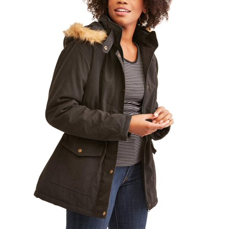 Women's Sueded Microfiber 3/4 Length Parka Jacket with Faux Fur - Black Wet Weather Parka