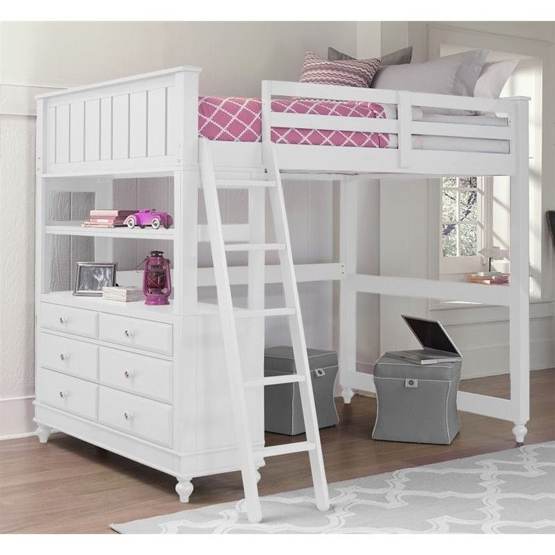 NE Kids Lake House Full Loft Bed with Hanging Shelf in White