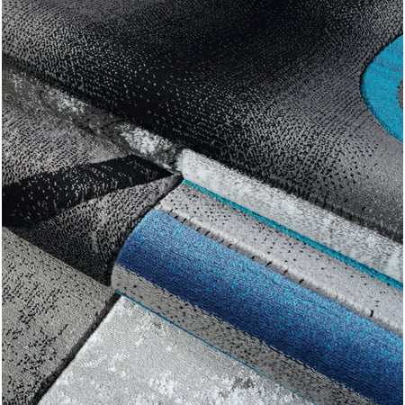 Ladole Rugs Dark Grey Gray Blue Turquoise Modern Geometric Area Rug Mat Carpet Runner for Living Bed room Entry way Patio Non Slip Size 3x5. 4x6 5 x 8 7 x 10, 9 by 12 11 feet ft - image 3 of 6