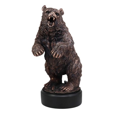 Ebros Gift The Grandfather North American Standing Black Bear Roaring Decor Statue with Round Trophy Base 13.25