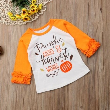 The New Hot Selling Baby Girls Halloween Long Sleeve Pumpkin Printed Ruffles T-Shirt Tops Clothes Outfits - Top Baby Games No Halloween