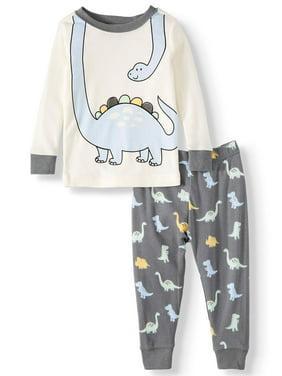 Wonder Nation Baby Boy 2 Piece Pajama Set, Dino