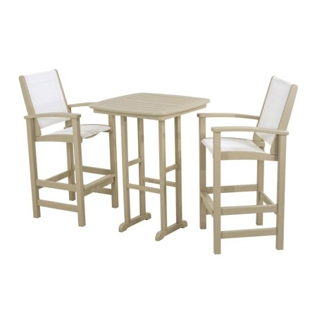 earth friendly 3 piece patio dining set sand brown with white sling