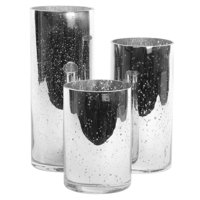 Koyal Wholesale Silver Antique Glass Cylinder Vases Set of 3 for Flowers, Floating Candles, Centerpiece Wedding Decor