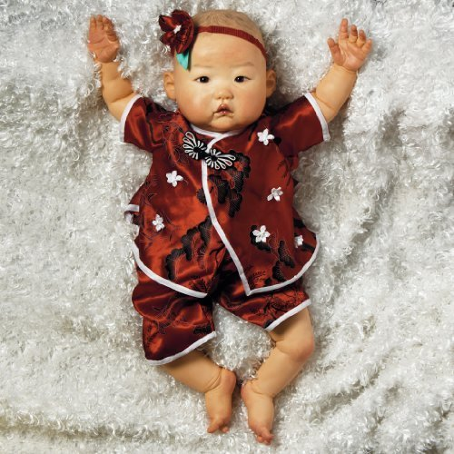 Paradise Galleries Lifelike Asian Reborn Baby Doll Mei, 20 inch Chinese Girl in GentleTouch Vinyl & Weighted Body, 4-Piece Set