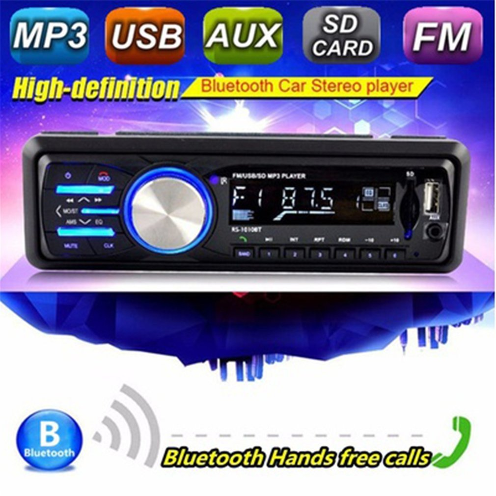FM Bluetooth Auto Audio Car Radio Stereo Music Remote USB AUX Hands-free Car MP3 Player With Display Support MP3 WMA Format