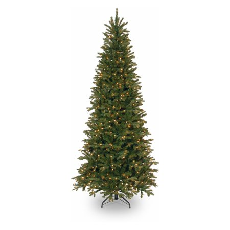 National Tree Pre-Lit 7-1/2' Feel-Real Tiffany Fir Slim Hinged Artificial Christmas Tree with 600 Clear Lights ()
