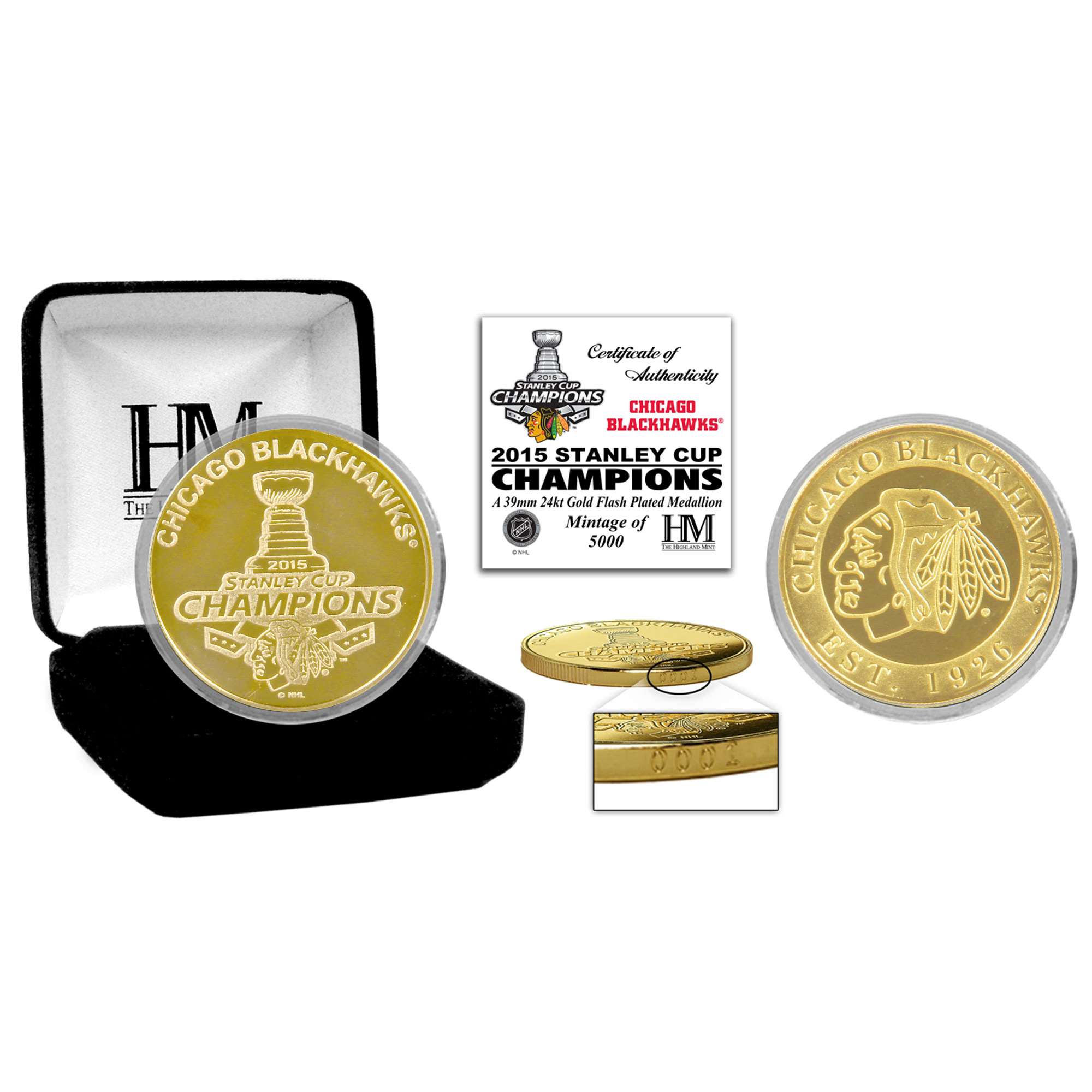 Chicago Blackhawks 2015 Stanley Cup Champions Gold Mint Coin - No ...