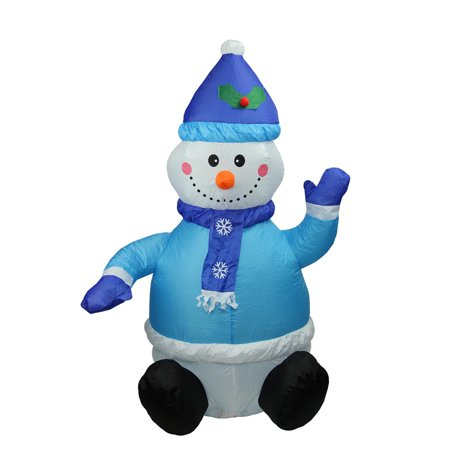 4' Inflatable Lighted Blue Snowman Christmas Outdoor Decoration