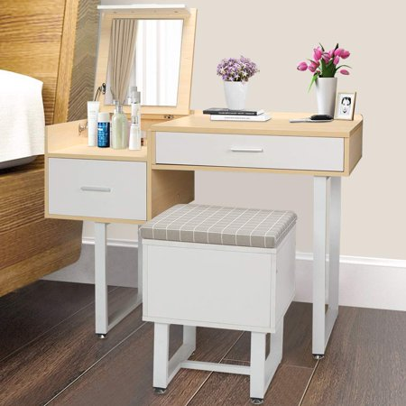 Vanity Set Dressing Table Desk with Mirror Wooden Princess Dressing Stool Chair Flip Top Design Jewelry Cosmetics Organizer Drawer White ()