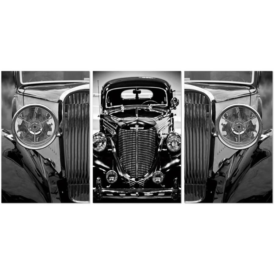 "Furinno SeniA Classic Car 3-Panel MDF Framed Photography Triptych Print, 42"" x 20"""