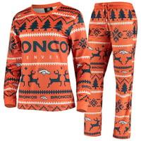 Denver Broncos Women's Holiday Pajama Set - Orange