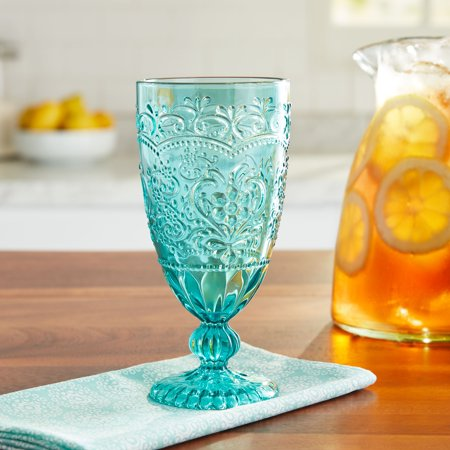The Pioneer Woman Embossed Teal Goblet