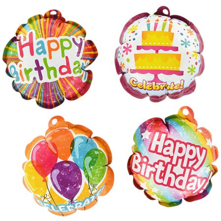Happy Birthday Foil Balloons Self-Inflating Party Supplies - 8 Pack Small Bday Mini 3.75