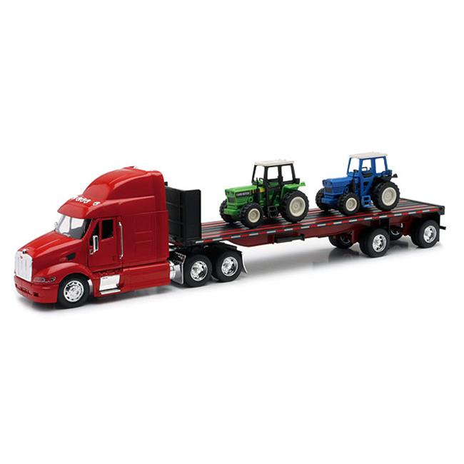 New-Ray New10283A Peterbilt 387 Flatbed Hauling a Model Farm Tractor by New-Ray Toys Inc