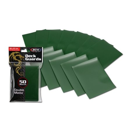 Mtg Deck Protectors (100 Premium Green Double Matte Deck Guard Sleeve Protectors for Gaming Cards like Magic The Gathering MTG, Pokemon, YU-GI-OH!, & More.Exterior.., By BCW)