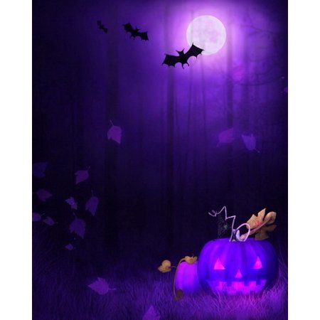 HelloDecor Polyster 5x7ft Spooky Halloween Scary Forest Bats Pumpkins Full Moon Photography Backdrops Indoor Studio Backgrounds Photo Props (Spooky Halloween Forest Backgrounds)