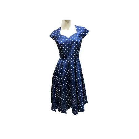 Vintage 50s Audrey Hepburn Style Polka Dots Women's Petite Dress, Navy Blue (L) W27 ()