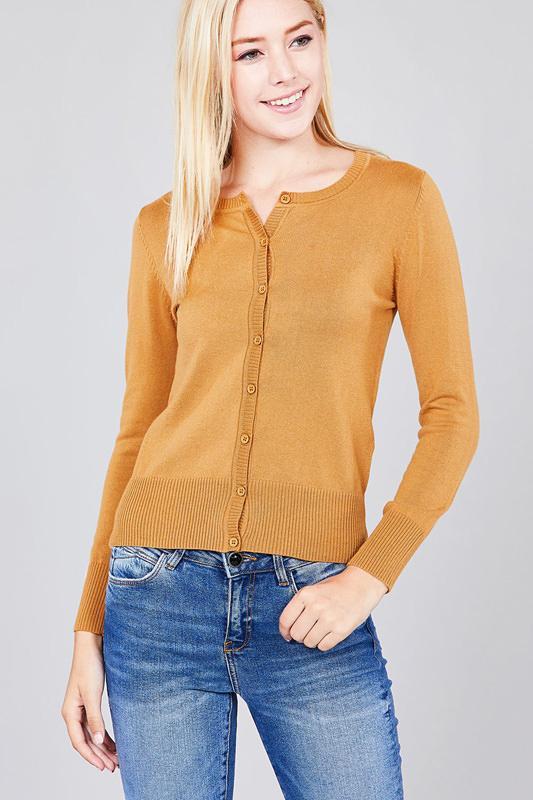 Women's Button Up Crew Neck Cardigan Sweater