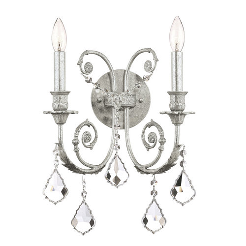 Crystorama Lighting Group 5112-CL Regis 2 Light Candle Style Crystal Double Wall