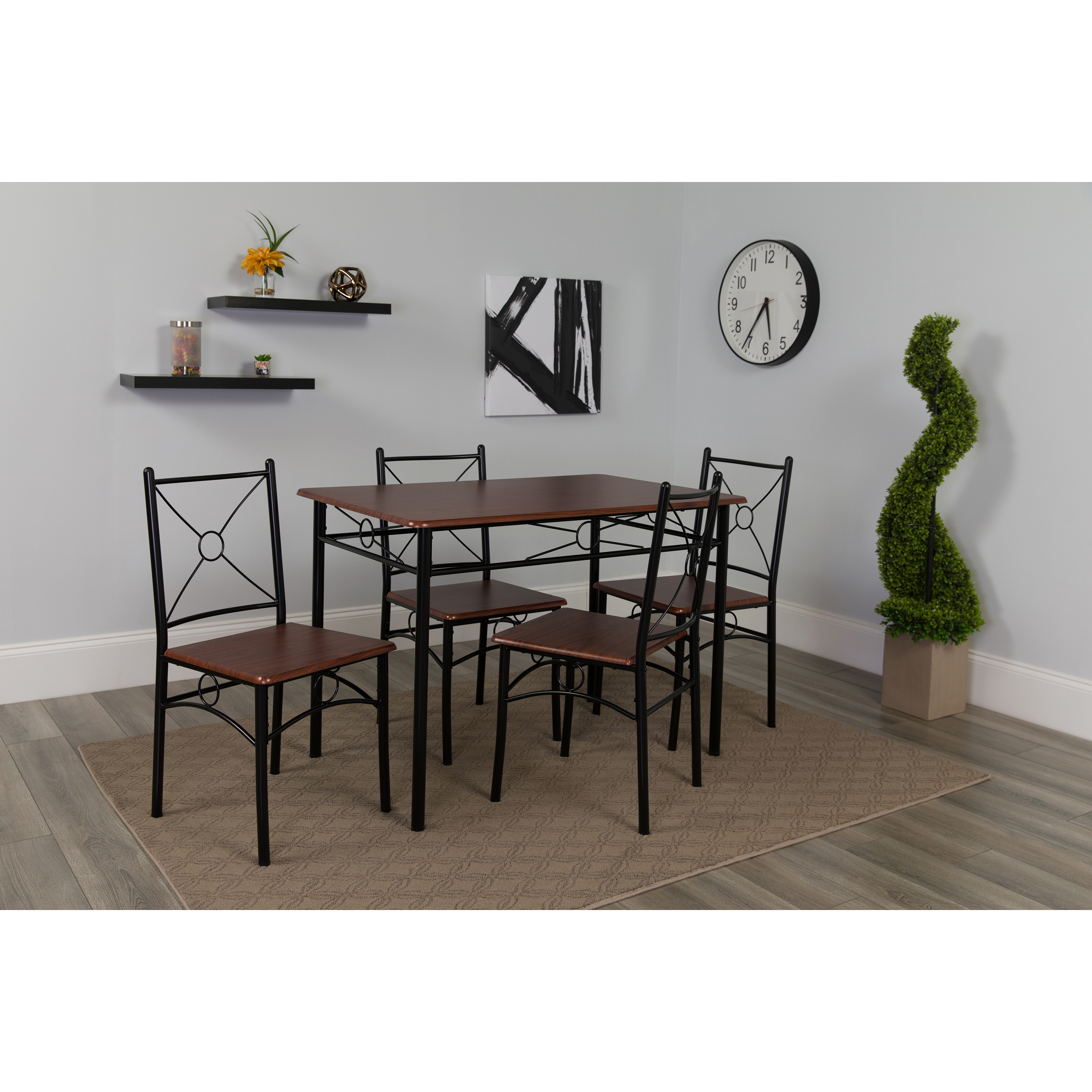 Flash Furniture Sutton Place 5 Piece Mahogany Finish Dinette Set with Chairs
