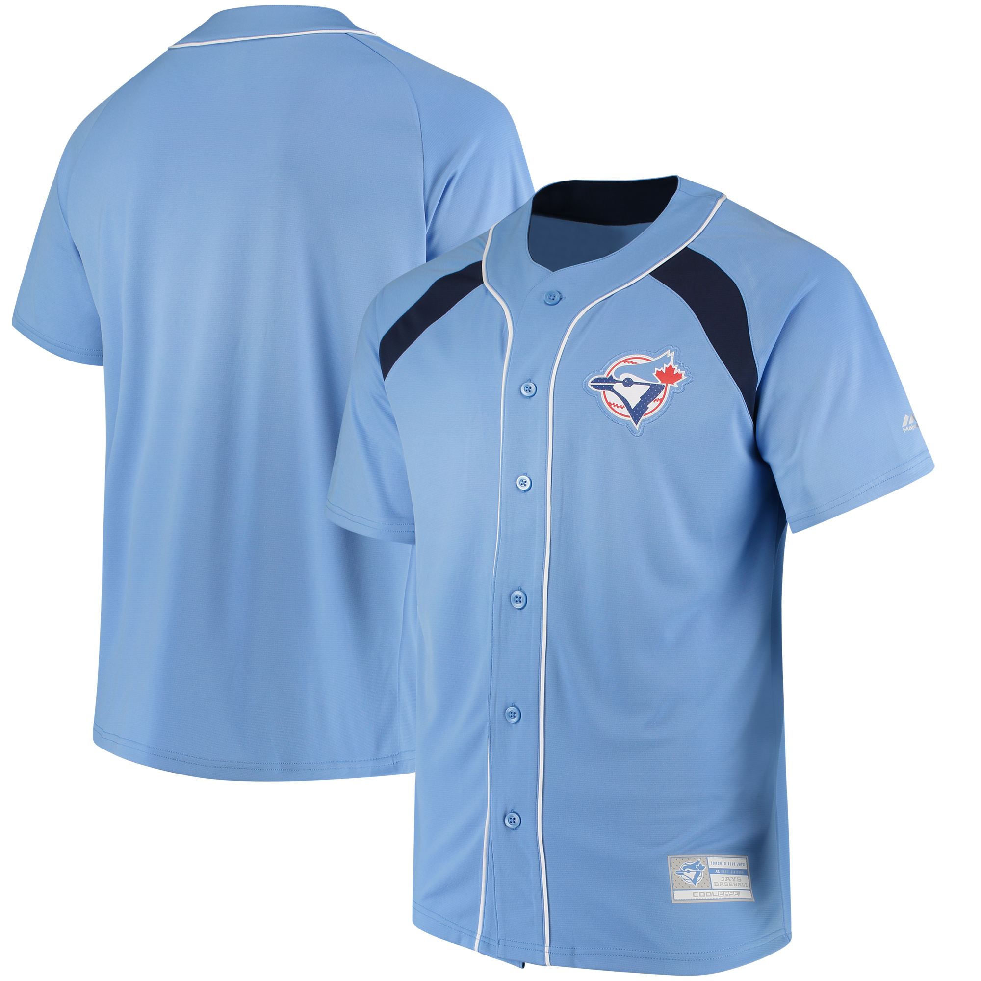 Toronto Blue Jays Majestic Cooperstown Collection Peak Power Fashion Jersey - Light Blue/Navy