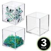 """mDesign Plastic Square Home Office Storage Organizer Container - for Cabinets, Drawers, Desks, Workspace - Holds Pens, Pencils, Highlighters, Notebooks - 4"""" Cube - 3 Pack, Clear"""