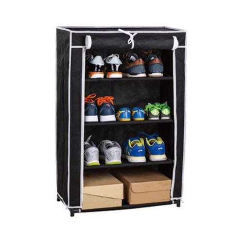 Above Edge AE3530B 4 Tier Roll & Up Shoe Closet, Black