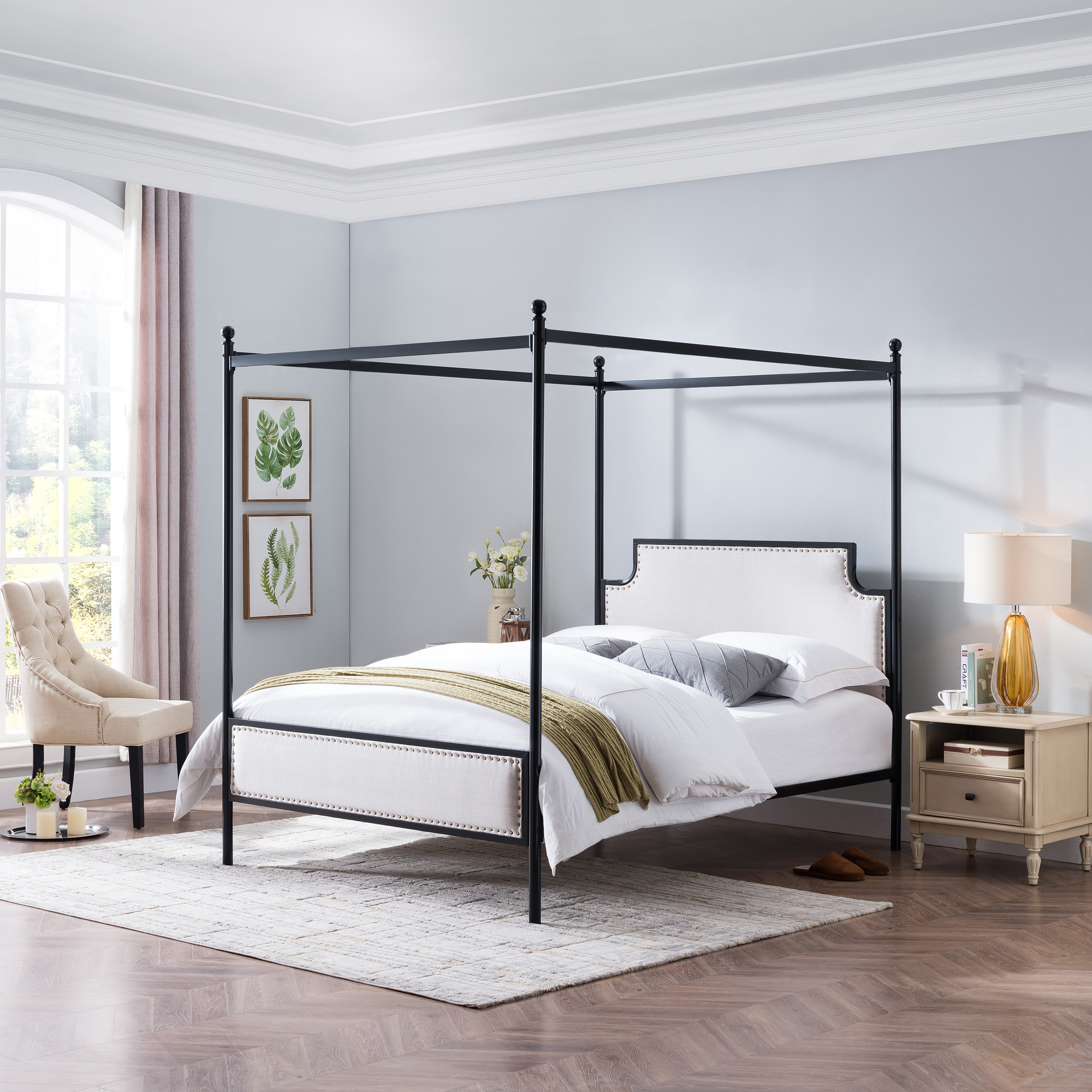 Asa Queen Size Iron Canopy Bed Frame With Upholstered Studded Headboard Beige And Flat Black Walmart Com Walmart Com