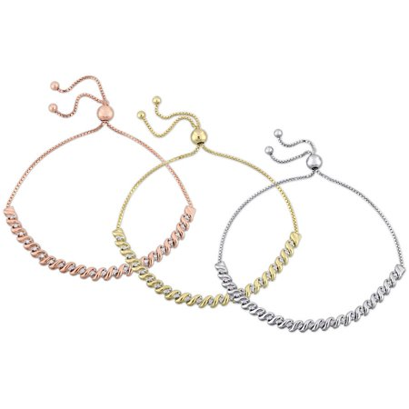 Miabella 3/4 Carat T.W. Diamond White, Yellow and Pink Sterling Silver Three-Piece Bolo Bracelet Set