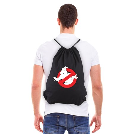 Ghostbusters Proton Backpack (Ghostbusters Logo Eco-Friendly Reusable Canvas Draw String Gym Bag Black &)