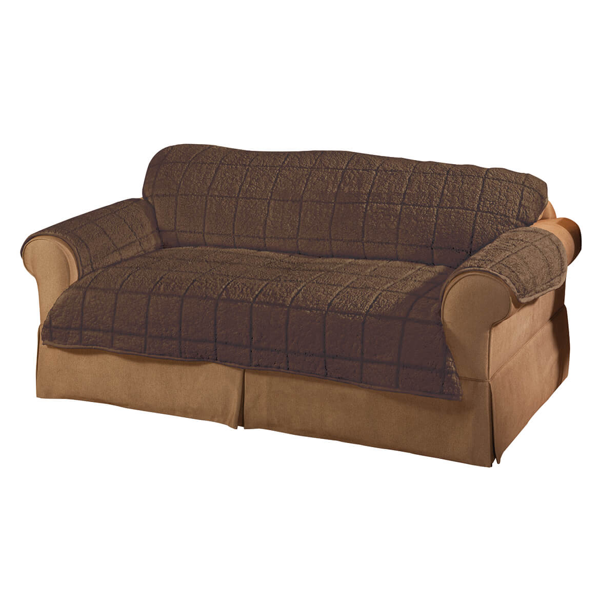 """Miles Kimball Parker Sherpa Sofa Couch Cover by OakRidge, Mocha Brown Water Resistant Polyester – 39"""" x 68"""" Back Cover & 36.5"""" x 68"""" Seat Cover & 2 Arm Covers of 21"""" x 24"""", Machine Washable"""